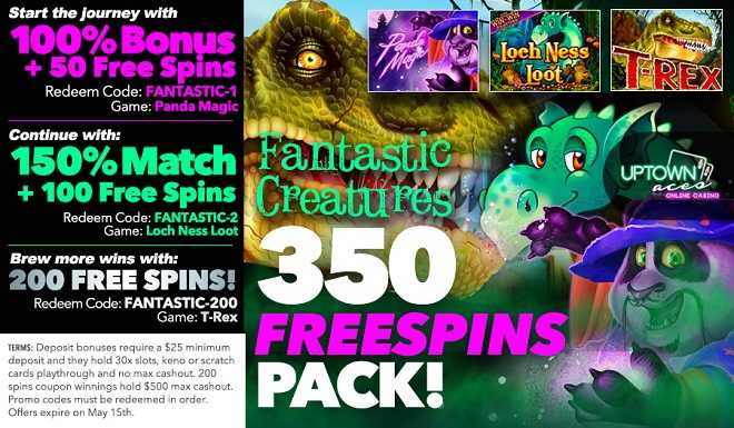 Uptown Aces 350 Free Spins