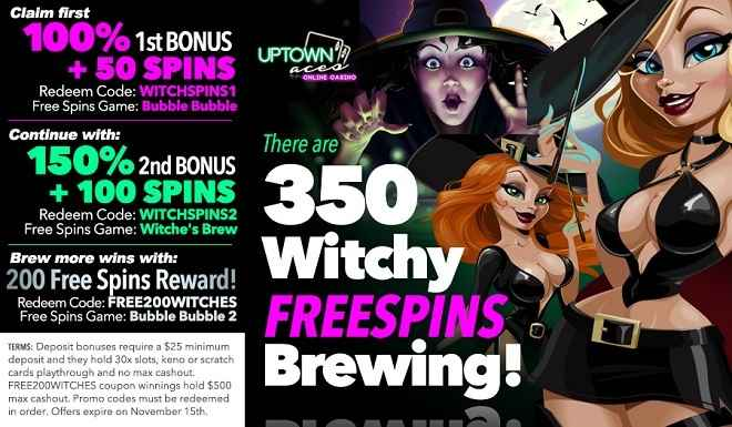 Uptown Aces' 350 Uptown Witches Free Spins Pack!