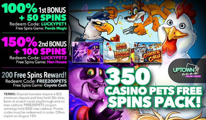 350 Casino Pets Free Spins Pack