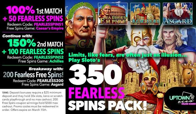 Uptown Aces' 350 Uptown Free Spins Pack!