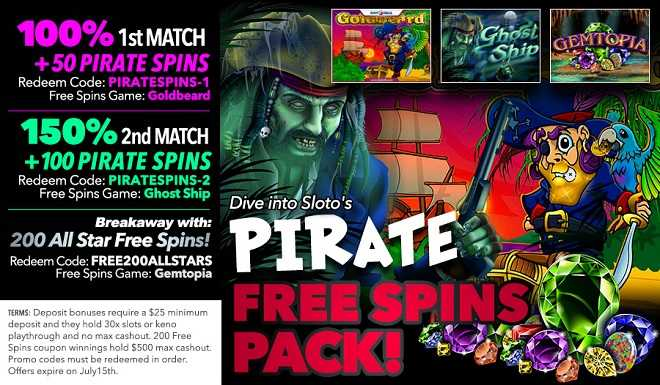 Uptown's 350 Pirate Free Spins Pack! - Latest Online Casino