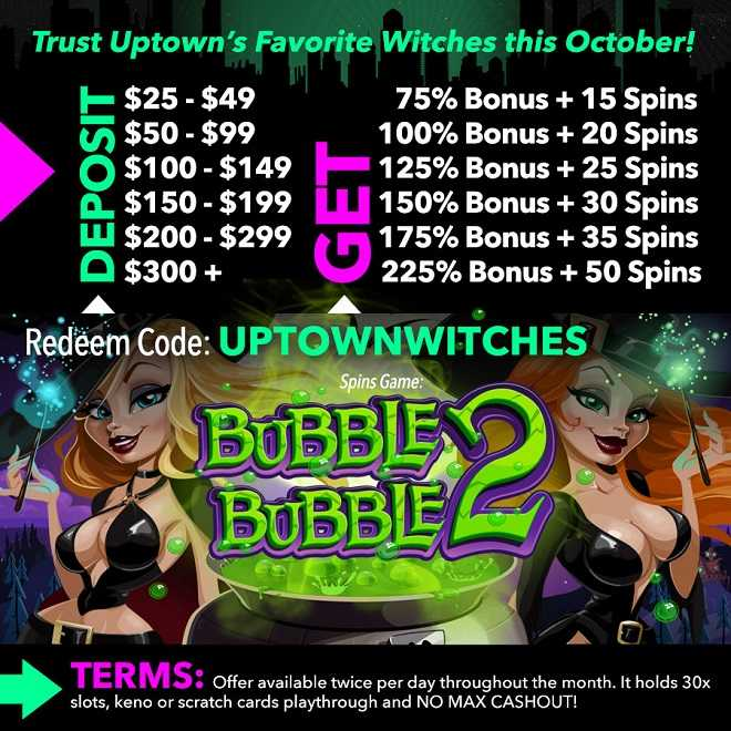 225% Bonus + 50 Bubble Bubble 2 Spins!